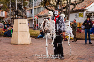 Bogota, Colombia - a street performer entertains on Plaza Usaquen