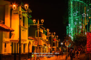 Bogotá, Colombia: Christmas lights on Plaza Usaquén