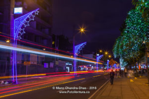 Bogota, Colombia, South America - Christmas lights on Carrera Quinze