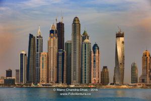 Dubai, UAE - Luxury Marina Towers at Sunset, Offshore View
