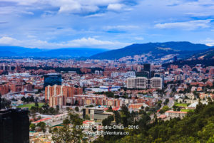 Bogota, Colombia - Panoramic view of city from La Calera on the Andes