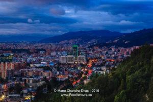 Bogota, Colombia: Panoramic twilight view of Usaquen from La Calera