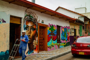Bogota, Colombia - Traffic Drives Through Historic La Candelaria