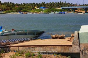 Kanyakumari, South India - Mannakudi Bridge destroyed by 2004 Tsunami
