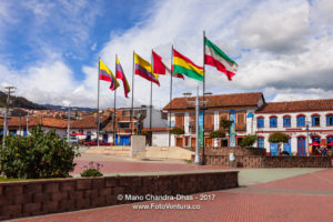 Colombia - Flags on Independence Square in Zipaquirá