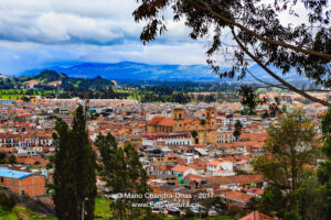 Colombia - Looking at Zipaquira town from higher elevation