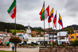 Colombia, Zipaquirá: Looking from Independence Square to Chapel on hill