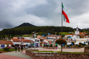 Colombia, Zipaquirá: Looking from Independence Square towards Andean Hillside