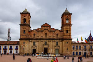 Colombia - people, historic Zipaquira town square and church