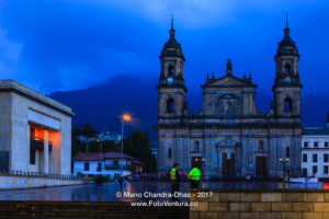 Bogota, Colombia - Plaza Bolivar on a Rainy Evening, after Sunset in the Golden Hour