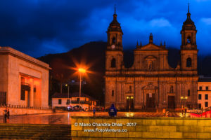 Bogota, Colombia - Plaza Bolivar on a Rainy Evening, During the Blue Hour