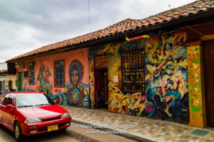 Bogota, Colombia - Traffic Drives Through the Historic La Candelaria District