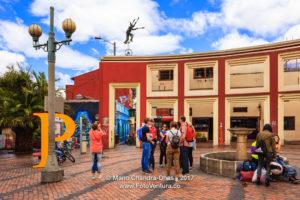 Bogota, Colombia - Tourists on Plaza Chorro de Quevedo in the Historic La Candelabra District