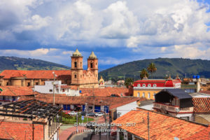 Colombia - Looking across Independence Square in Zipaquirá to the Church on the Main Square