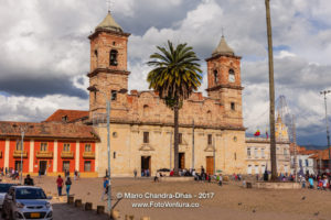 Colombia - The Church on the Main Square in the Andean Town of Zipaquirá in the Afternoon Sunlight