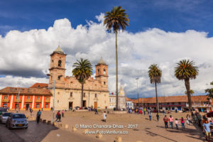 Colombia - The Main Square in the Andean Town of Zipaquirá in the Afternoon Sunlight