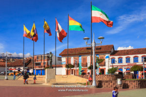 Colombia - Flags and People on Independence Square in Andean Town of Zipaquirá