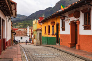 Bogotá Colombia - Spanish Colonial Architecture and Brightly Painted Walls in La Candelaria ©Mano Chandra Dhas