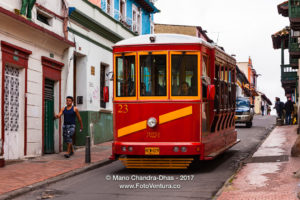 Bogotá Colombia - A Tourist Bus, modelled on the Old Tram in La Candelaria Mano Chandra Dhas