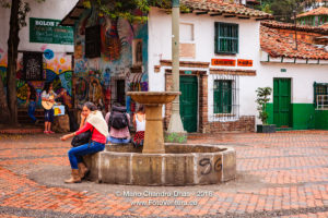 Bogota, Colombia - Visitors on Plaza del Chorro de Quevedo in La Candelaria ©Mano Chandra Dhas