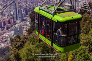 Bogota, Colombia - A Cable Car Carrying Tourists Approaches the Andean Peak of Monserrate © Mano Chandra Dhas