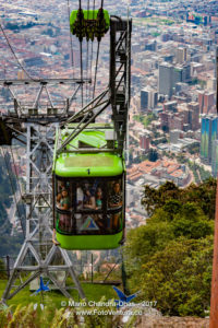Bogota, Colombia - A Cable Car Carrying Tourists Approaches the Andean Peak of Monserrate ©Mano Chandra Dhas