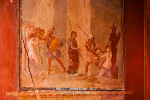 Pompeii, Italy: painting in ruins caused by Volcano Vesuvius. © Mano Chandra Dhas