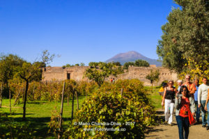 Italy - tourists walk through ruins of Pompeii. Vesuvius background. © Mano Chandra Dhas