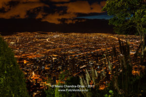Bogota, Colombia - Striking Night View of the Capital City from Andean Peak Of Monserrate