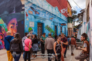 Bogotá, Colombia - Tourists and Local Colombian People on the Narrow Calle del Embudo