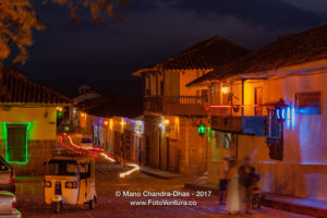 Barichara, Colombia - 300 Year Old Town Square On The Andean Town. Night Shot.