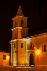 Colombia, South America - Night Shot Of Steeple Of Iglesia del Carmen