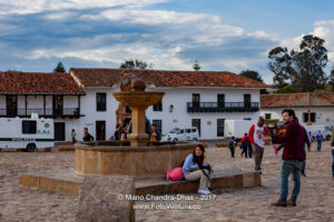 Colombia, South America - People By The Fountain On Main Plaza In 16th Century Villa de Leyva