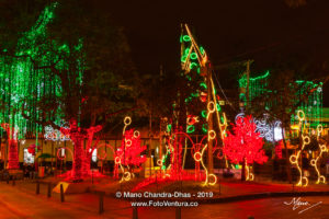 Christmas In Colombia - LED Illumination Of Artificial Modern Christmas Tree On The Usaquén Town Square In The Andean Capital City Of Bogotá