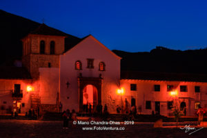 Colombia, South America - Church On The Plaza Mayor Of The Historic 16th Century Andean Town of Villa de Leyva, In The Boyacá Department At Twilight Time