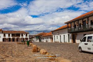 Villa de Leyva, Colombia - One Side and Corner Of The Cobblestoned Plaza Mayor