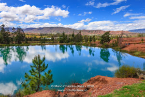 Colombia, South America - The Pools Of Water Known Locally As Pozos Azules, In The Semi Arid Region Near The Andes Town Of Villa de Leyva, In The Boyacá Department