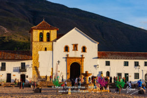 Colombia, South America - Church On The Plaza Mayor Of The Historic 16th Century Town of Villa de Leyva, In The Light Of The Setting Sun