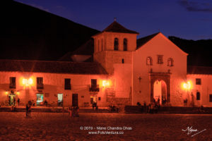 Colombia, South America - Church On The Plaza Mayor Of The Historic 16th Century, Andean Town of Villa de Leyva, In The Boyacá Department At The Twilight Hour