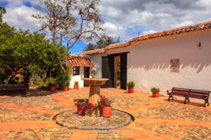 Colombia, South America - The Courtyard Of The House In Which The Colombian National Hero Antonio Ricaurte Was Born, Located In The Historic 16th Century Andean Town Of Villa de Leyva. Image Shot In The Morning Sunlight