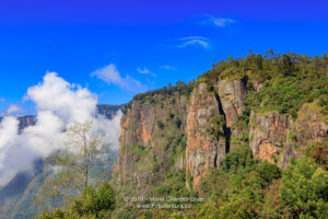 Kodaikanal, Tamil Nadu, India - Rare View Of The Pillar Rocks Without The Usual Cover Of Mist And Fog