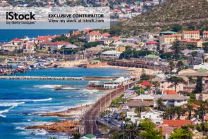 Cape Province: South Africa - A High Angle View Of Simon's Town, Where The Ocean Meets The Land