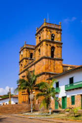 Barichara, Colombia - Front Of The Historic Cathedral On The 300 Year Old Plaza
