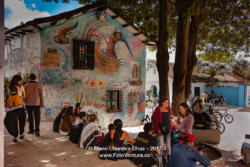 Bogota, Colombia - Local Colombian People and a Few Tourists Enjoy The Chorro de Quevedo