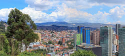 Bogota, Colombia - High Angle View of the South American Capital City On The Andes Mountains Showing The Old And The New