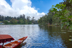 Kodaikanal, South India - Looking Across Kodaikanal Lake In The Colonial Town In The State Of Tamil Nadu; A Boat Used To Row Tourists Around The Lake Is Seen To The Lower Left.