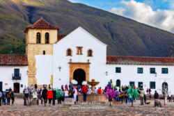 Colombia, South America - Church On The Plaza Mayor Of The Historic 16th Century Town of Villa de Leyva, In The Boyacá Department