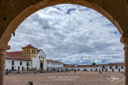 Colombia, South America - Church On Main Square Of The Historic 16th Century Town of Villa de Leyva As Viewed from The Northern Corner In Morning Sunlight