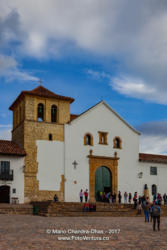 Colombia, South America - Belfry And Entrance to Church On Main Square Of 16th Century Villa de Leyva