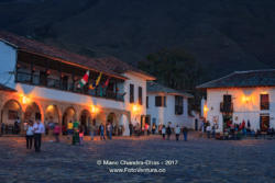 Colombia, South America - Looking Towards The Eastern Corner Of The Cobblestoned Main Square In Villa de Leyva
